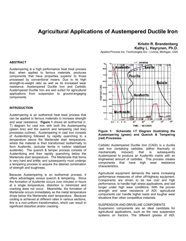 Agricultural Applications of Austempered Ductile Iron - Applied Process