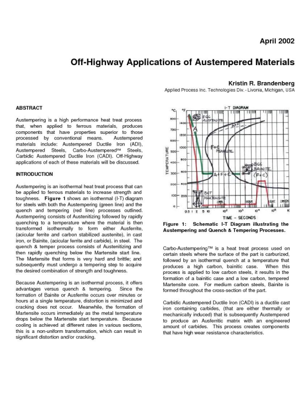 Off-Highway Applications of Austempered Materials - Applied Process